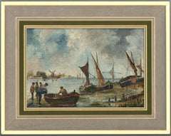 D. Piper - Contemporary Oil, Figures and Beached Vessels in a Seascape
