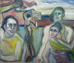 Dancing Expressionist Figures in Oil, Mid Century