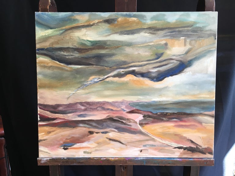 Dark Skies, Stylised Impressionist Oil Painting - Brown Landscape Painting by Unknown