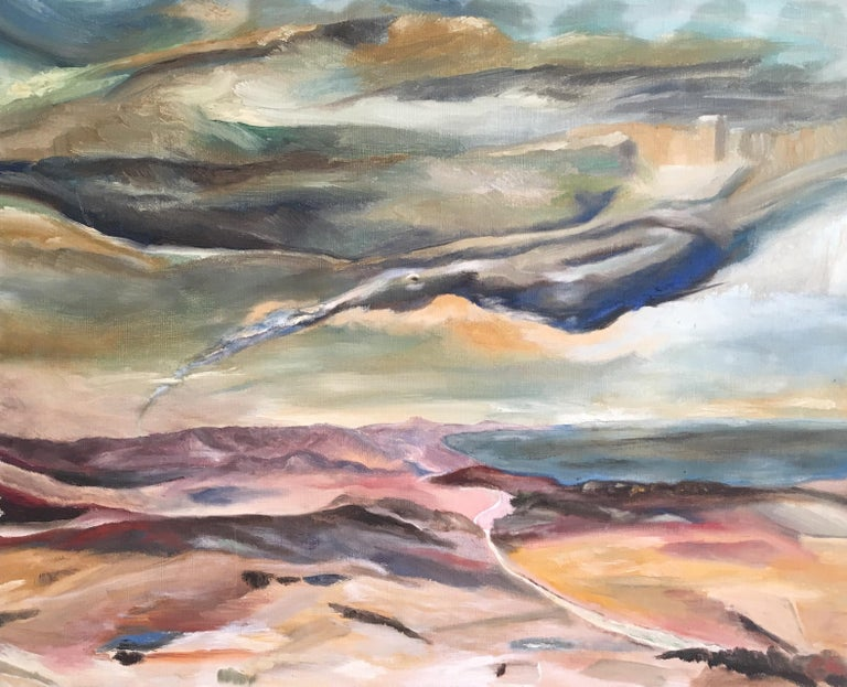 Unknown Landscape Painting - Dark Skies, Stylised Impressionist Oil Painting