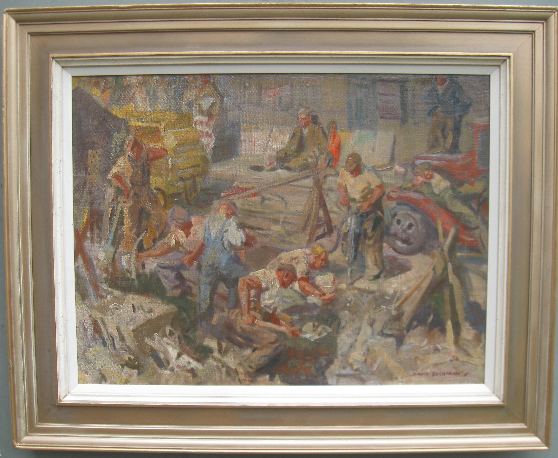 David R Buchanan 'Men at Work' oil circa 1930