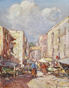 Decorative Painting, Oil on canvas. Oriental Market Scene.