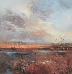 Deluge at Twilight - contemporary abstract landscape nature sky oil painting