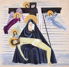 Deposition - Tempera on Paper by French Artist - Mid 20th Century