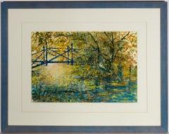 Derek Massey - Framed 1999 Acrylic, Impressionist Lake Landscape
