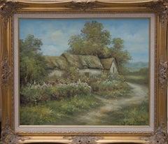 Desmond North - 20th Century Oil, Thatched Cottage in Landscape