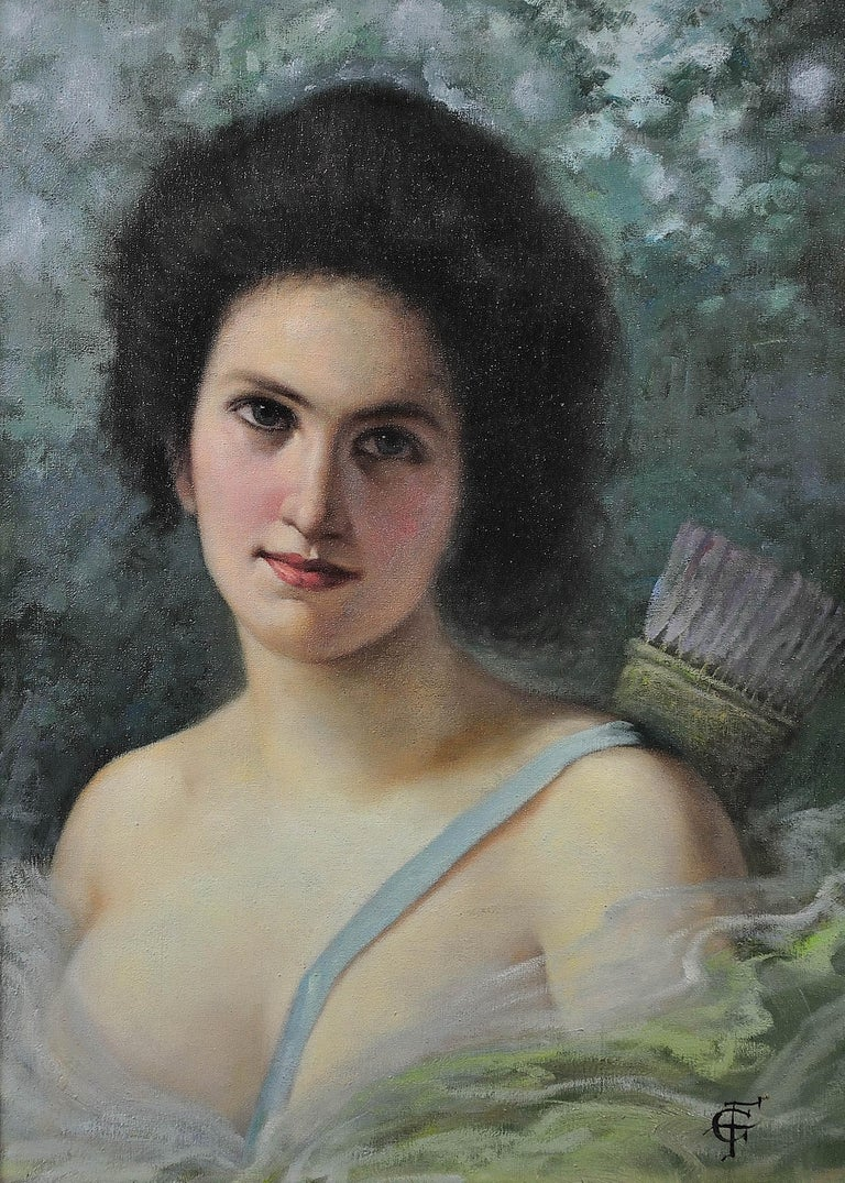 Diana, the Huntress. After Seignac and Corcos. Original oil. A decorators piece. - Painting by Unknown
