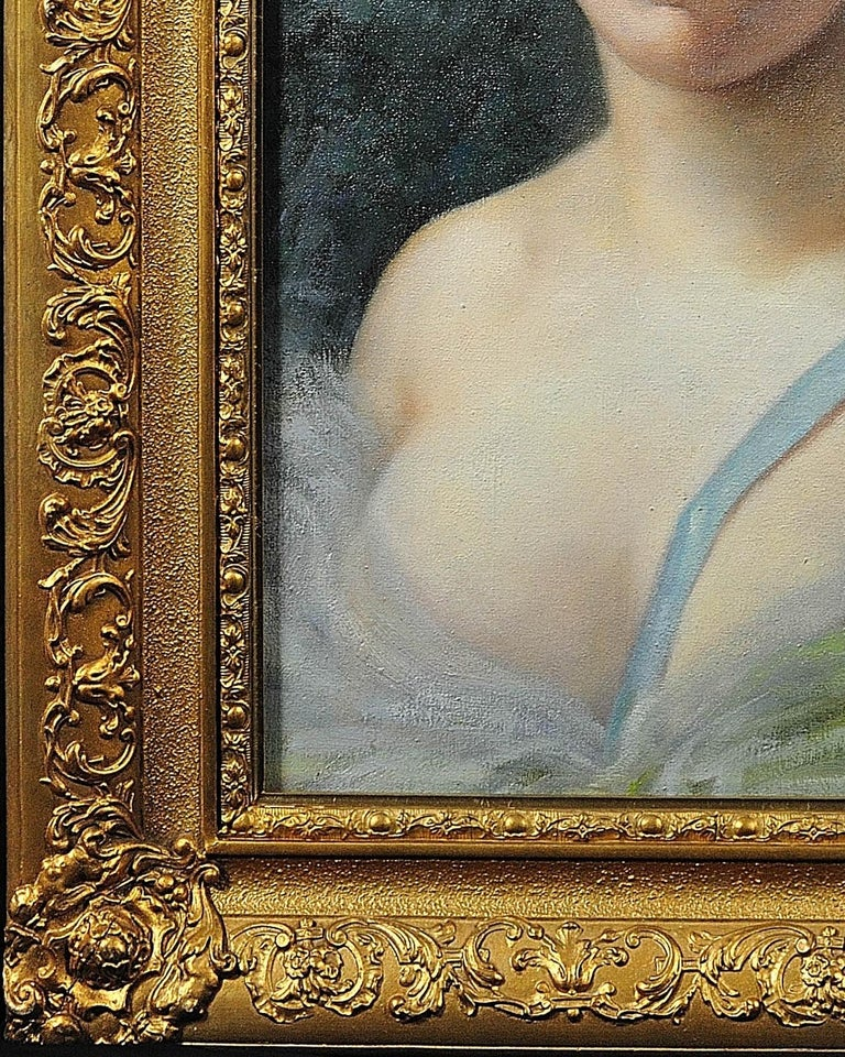 A unique opportunity to acquire a period vintage oil painting from between the Wars after Vittorio Matteo Corcos (Italian 1859- 1933) and Guillaume Seignac (1870-1924). The overall presentation and origin is very much in the Art Nouveau style. A