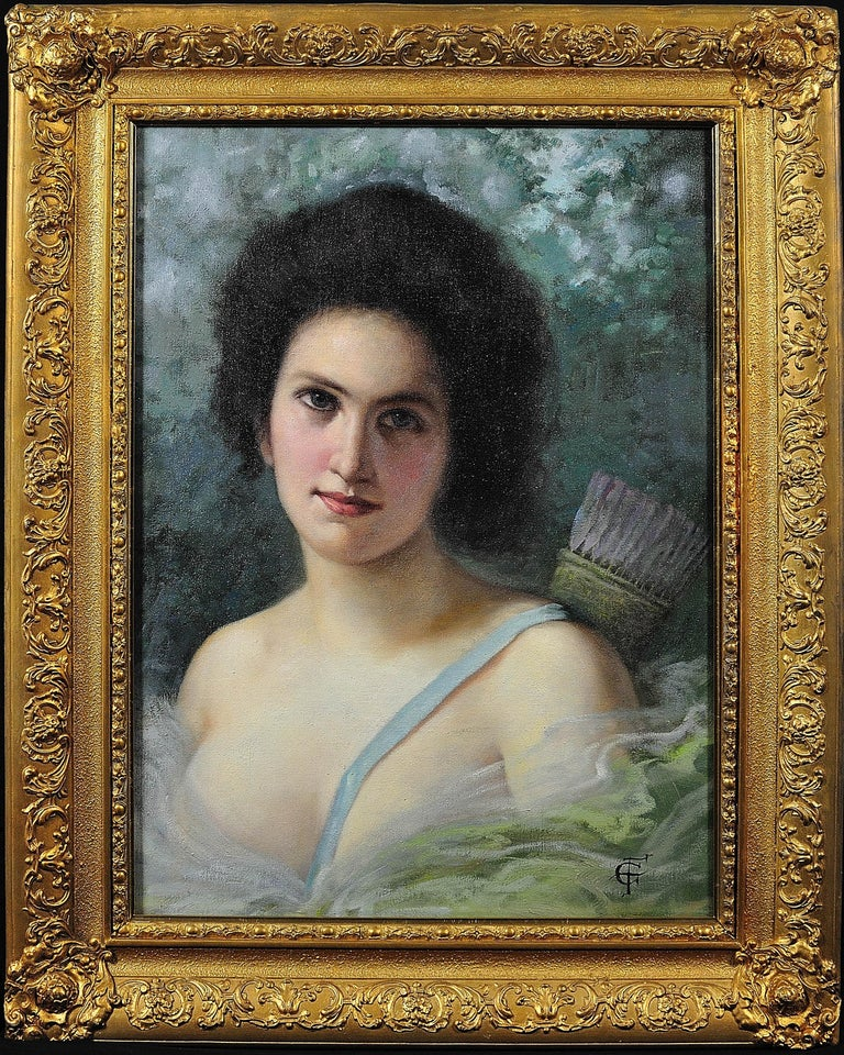 Unknown Portrait Painting - Diana, the Huntress. After Seignac and Corcos. Original oil. A decorators piece.