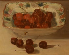 """Dish of Cherries,"" French or British Impressionist, Still Life, Oil on Board"