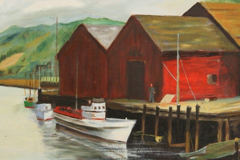 #5-3219 Dockside at the cannery ,acrylic on artist board displayed in an embossed gilt and green wood frame .Signed lower right by I.Ruiz.Image size!6 H x 19 W.Age wear on the frame
