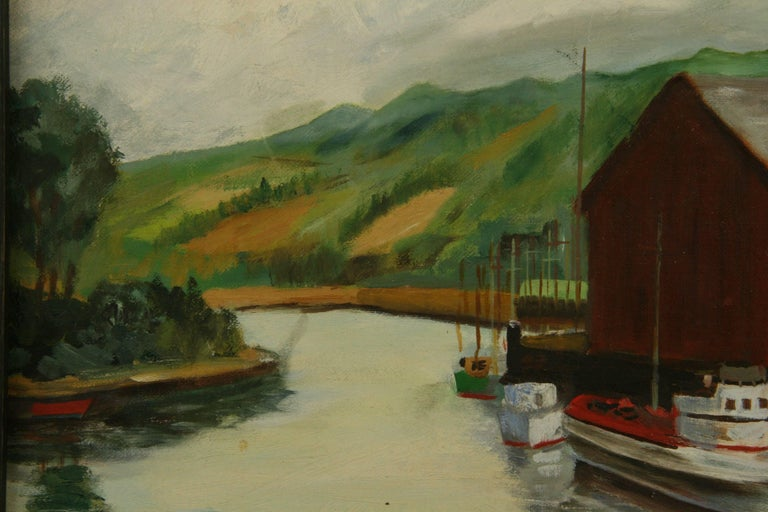 Dockside at The Cannery Seascape Landscape  Painting For Sale 1