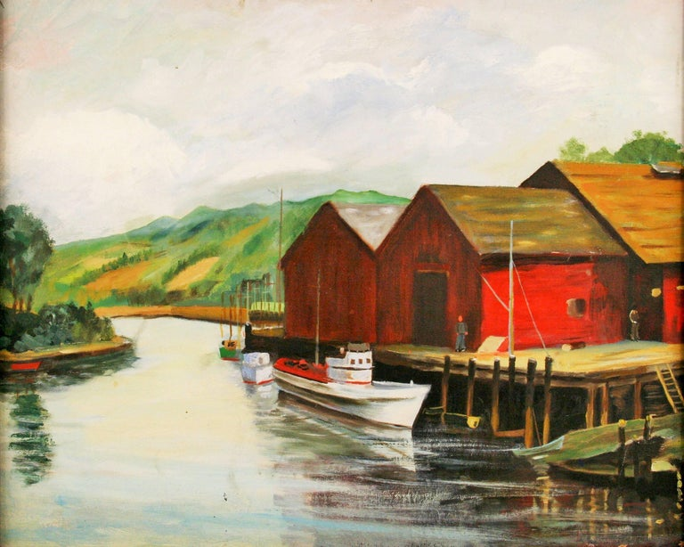 Dockside at The Cannery Seascape Landscape  Painting - Brown Landscape Painting by Unknown