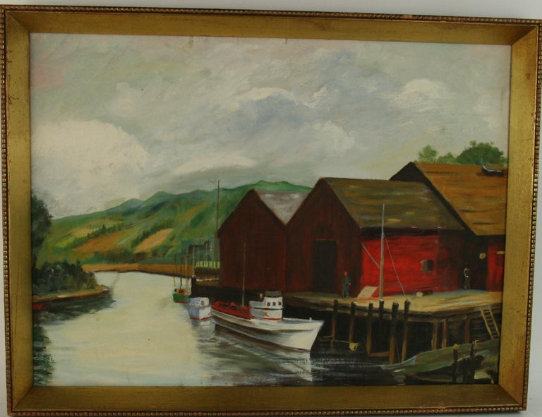 Unknown Landscape Painting - Dockside at The Cannery Seascape Landscape  Painting
