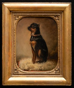 "Dog Portrait ""Little Moska"" Terrier 19th Century"