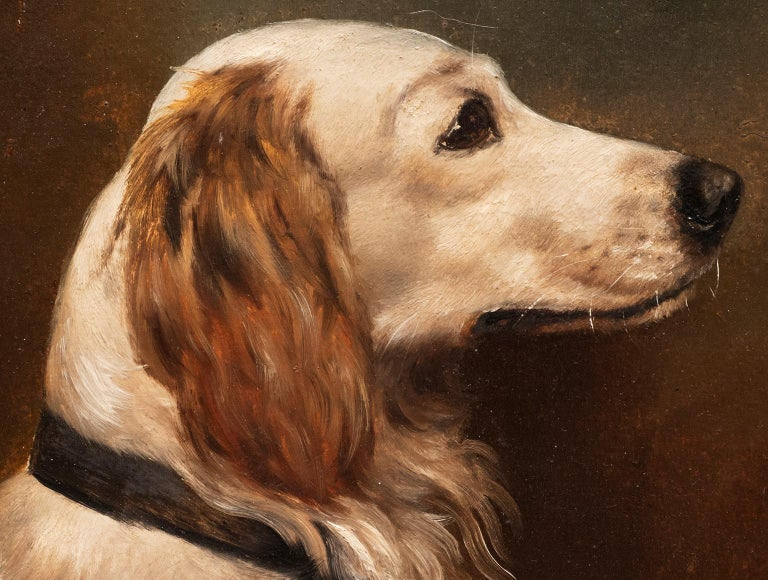 Dog Portrait of a Golden Retriever Circa 1900 - Naturalistic Painting by Unknown
