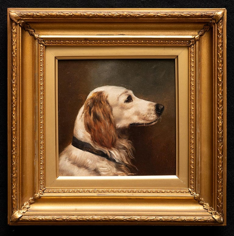 Unknown Animal Painting - Dog Portrait of a Golden Retriever Circa 1900