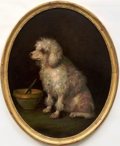 "A Large Antique Dog Painting of a Poodle Inscribed ""Zoraida"""