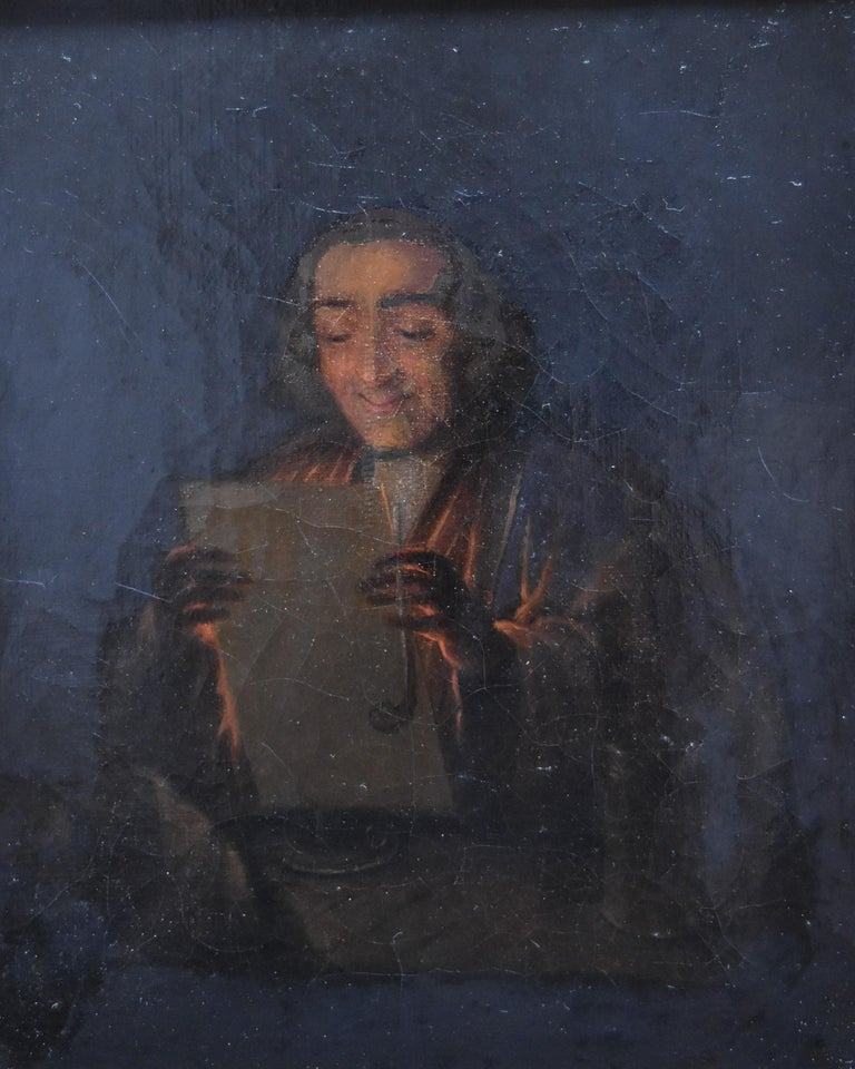 Dutch school 19th century, A philosopher reading, oil on canvas - Black Interior Painting by Unknown
