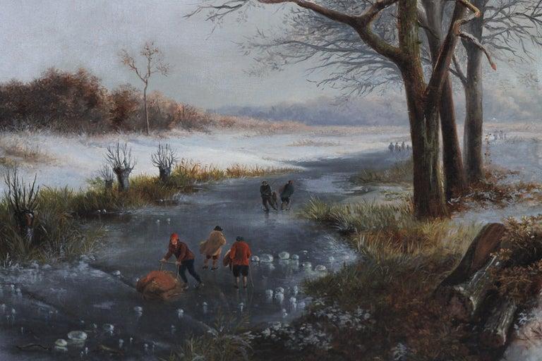 Dutch Winter Landscape - 19th century Dutch art 1848 landscape oil painting  For Sale 6