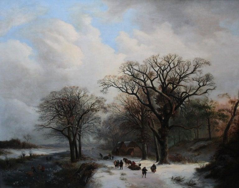 Dutch Winter Landscape - 19th century Dutch art 1848 landscape oil painting  For Sale 9