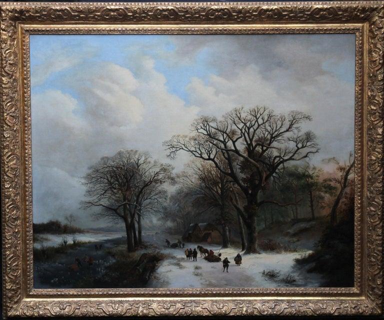 Dutch Winter Landscape - 19th century Dutch art 1848 landscape oil painting  For Sale 10