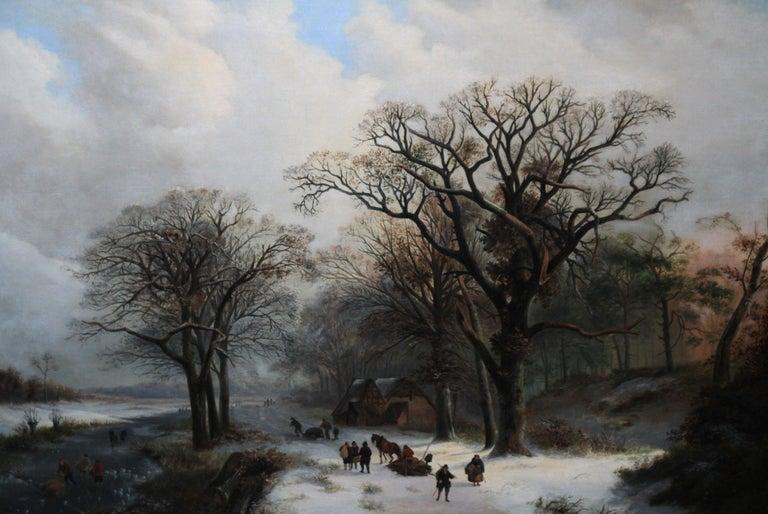 Dutch Winter Landscape - 19th century Dutch art 1848 landscape oil painting  - Victorian Painting by Unknown