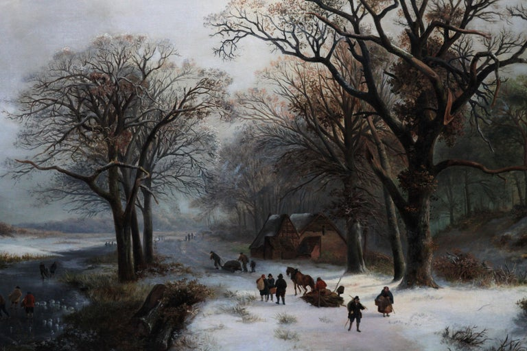 This charming Dutch Romantic picturesque winter landscape oil painting was painted in 1848. The composition is a lovely bright snow scene of a frozen river and wide track beside it. Figures are skating and playing on the ice while others drag