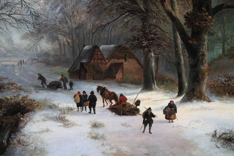 Dutch Winter Landscape - 19th century Dutch art 1848 landscape oil painting  For Sale 1