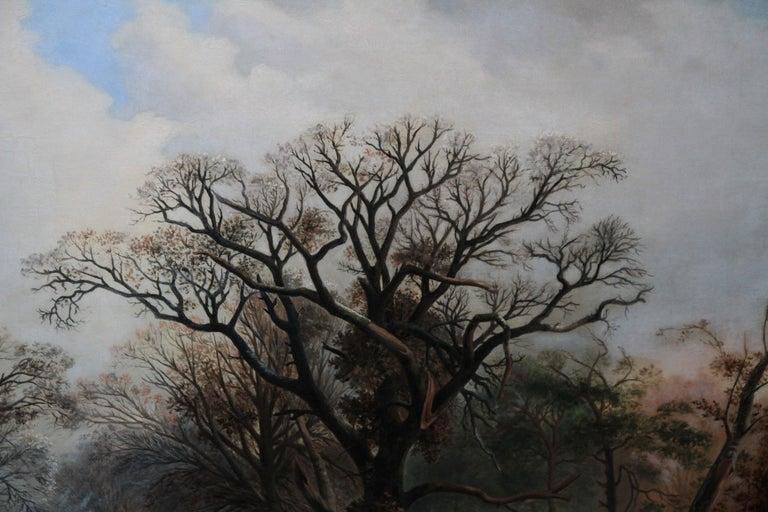 Dutch Winter Landscape - 19th century Dutch art 1848 landscape oil painting  For Sale 2