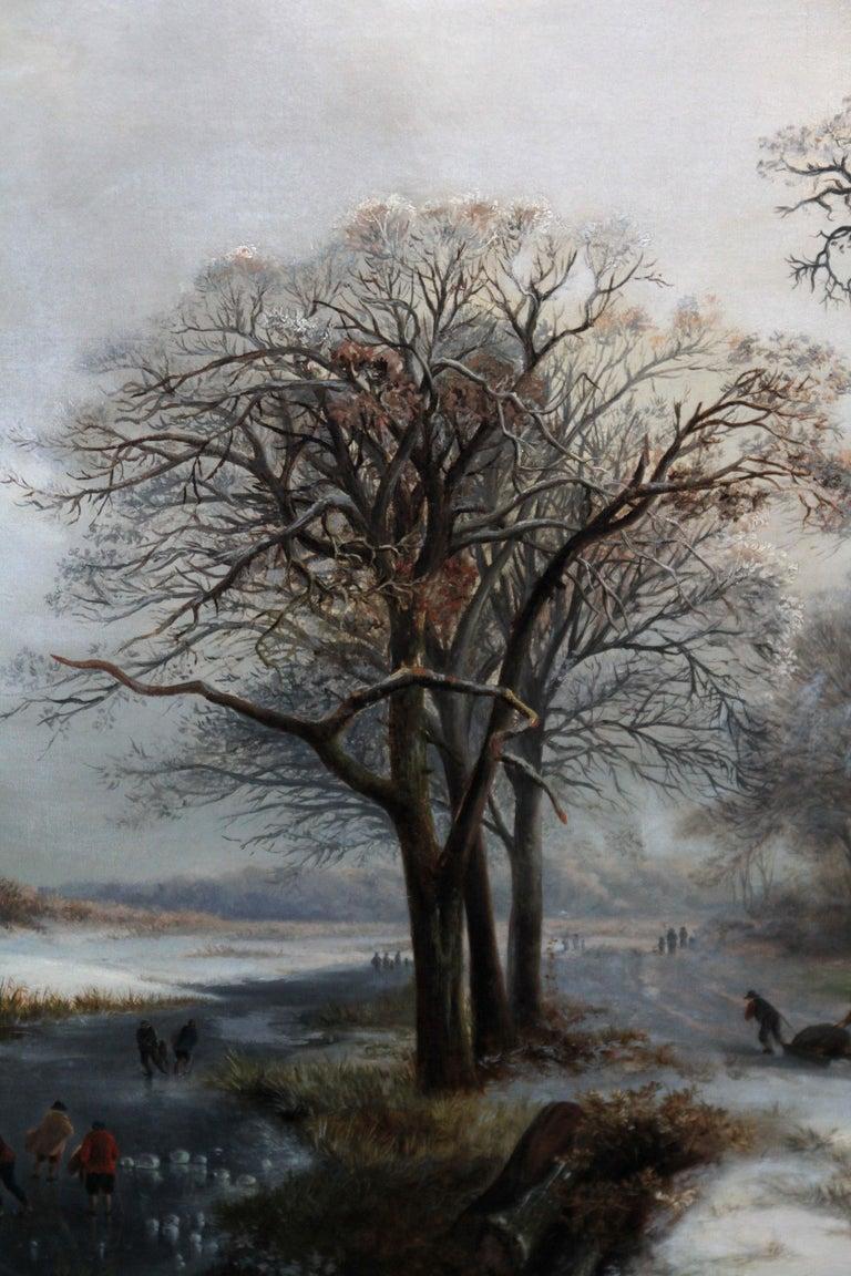 Dutch Winter Landscape - 19th century Dutch art 1848 landscape oil painting  For Sale 3