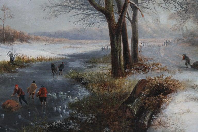 Dutch Winter Landscape - 19th century Dutch art 1848 landscape oil painting  For Sale 4