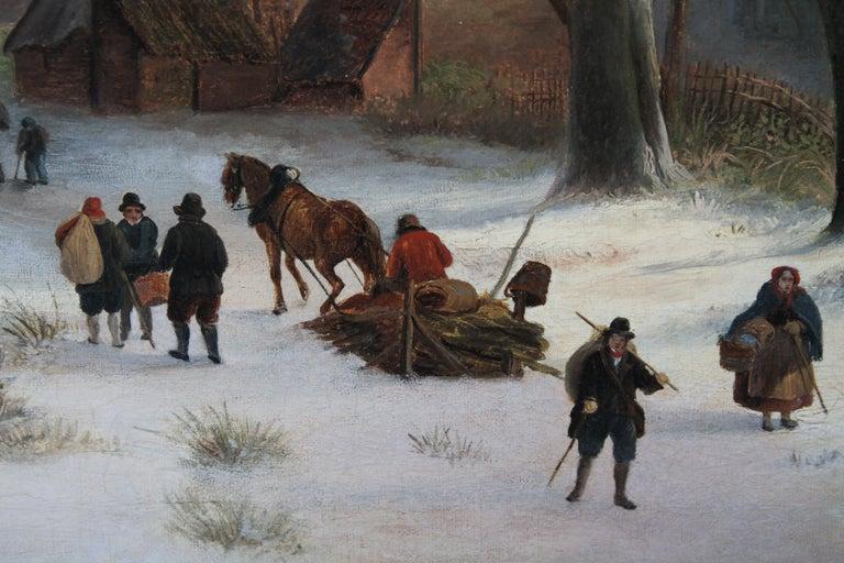 Dutch Winter Landscape - 19th century Dutch art 1848 landscape oil painting  For Sale 5