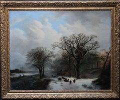 Dutch Winter Landscape - 19th century Dutch art 1848 landscape oil painting