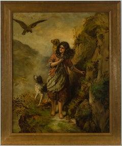 E. Dear - Framed 1930 Oil, Young Girl on a Rocky Path