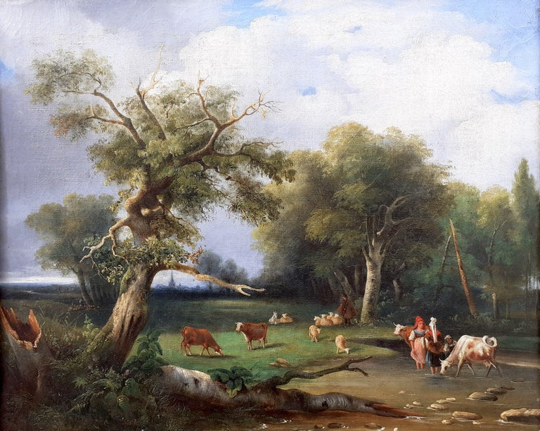 early 1800s ideal Arcadian landscape with figures, trees, animals oil painting - Painting by Unknown