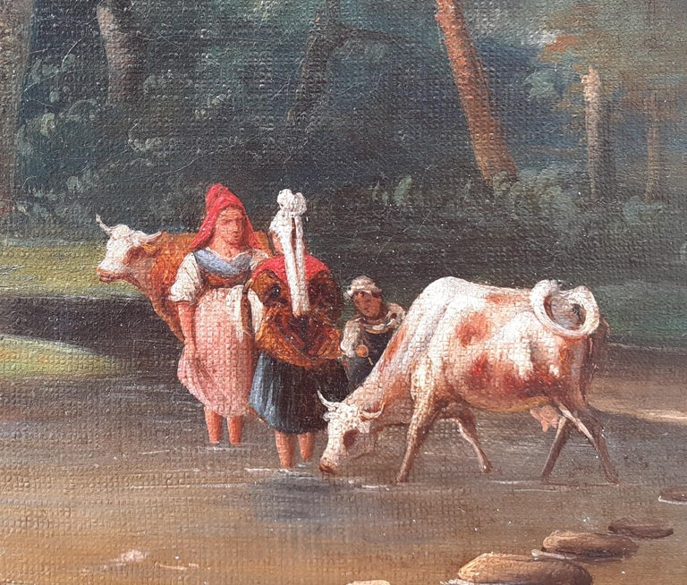 early 1800s ideal Arcadian landscape with figures, trees, animals oil painting - Academic Painting by Unknown