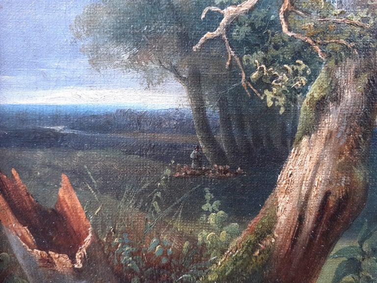 early 1800s ideal Arcadian landscape with figures, trees, animals oil painting - Brown Figurative Painting by Unknown