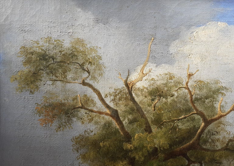 early 1800s ideal Arcadian landscape with figures, trees, animals oil painting For Sale 1