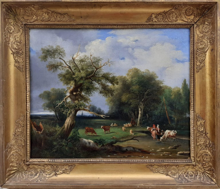 early 1800s ideal Arcadian landscape with figures, trees, animals oil painting For Sale 3