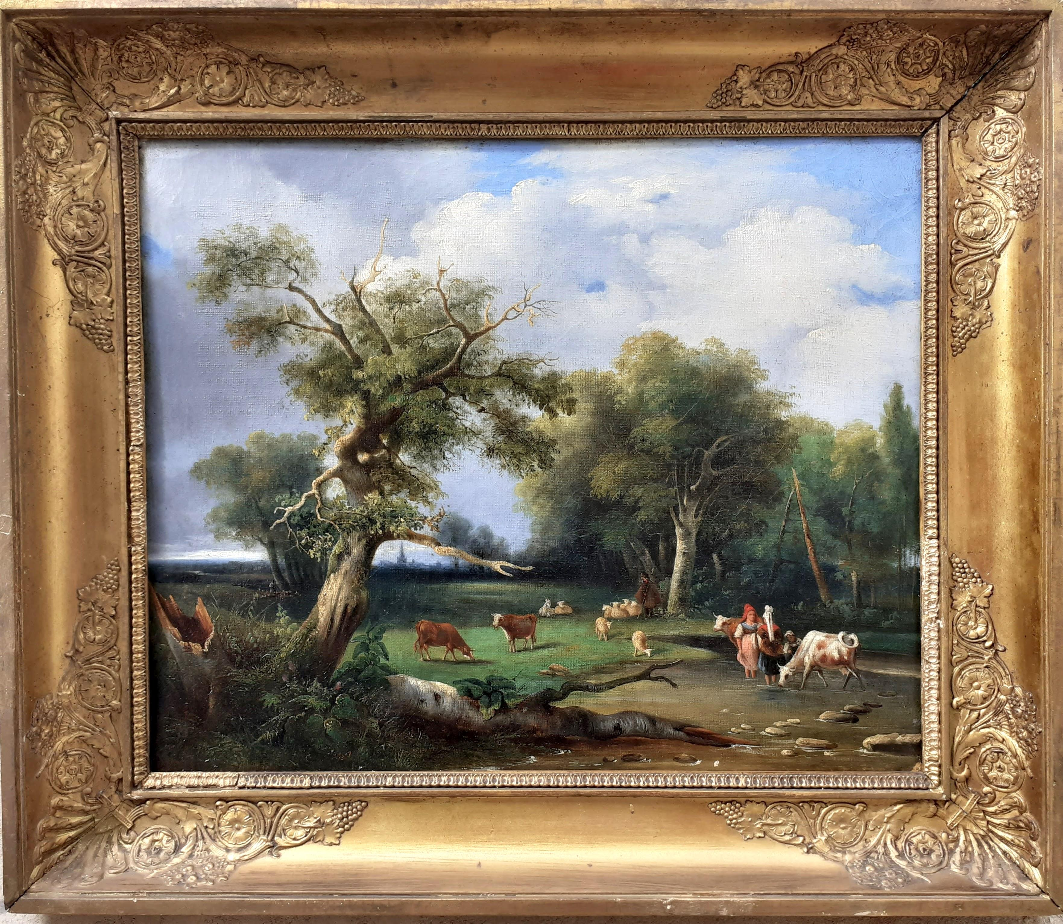 early 1800s ideal Arcadian landscape with figures, trees, animals oil painting