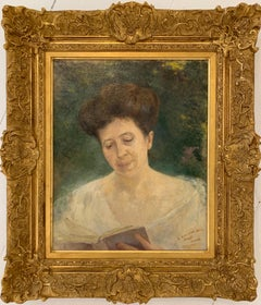 Early 1900's French Impressionist Portrait of a Lady Beautiful Gilt Frame