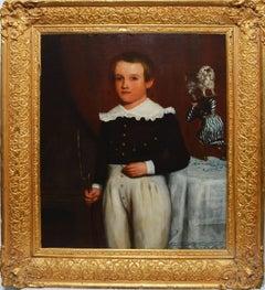 Early 19th Century American School Folk Art Portrait of a Boy