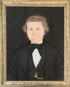 Early 19th Century American School Pastel Portrait of a Young Man