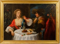 Early 19th century Italian painting - Romantic banquet - Oil on canvas Italy
