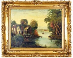 Early 19th Century Landscape Oil Painting Depicting a River Landscape