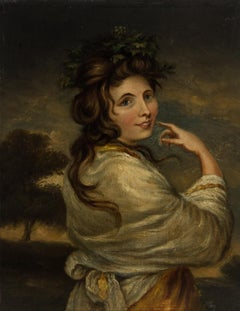 Early 19th Century Oil - English School Portrait of a Woman with White Shawl