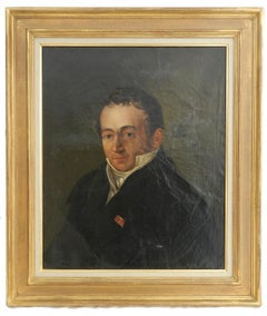 Early 19th Century Portrait Painting of a Gentleman French Oil on Canvas