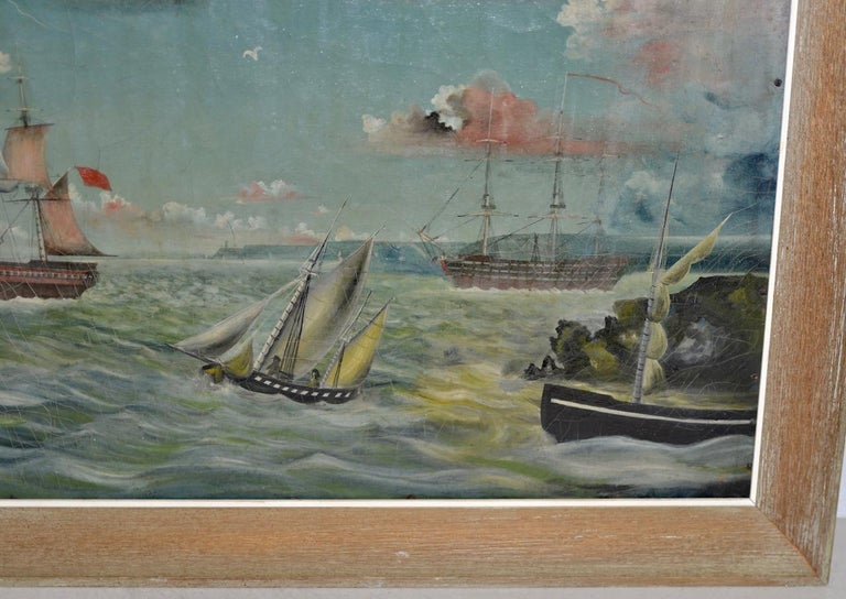 Early 20th Century American Maritime Oil Painting - Gray Landscape Painting by Unknown