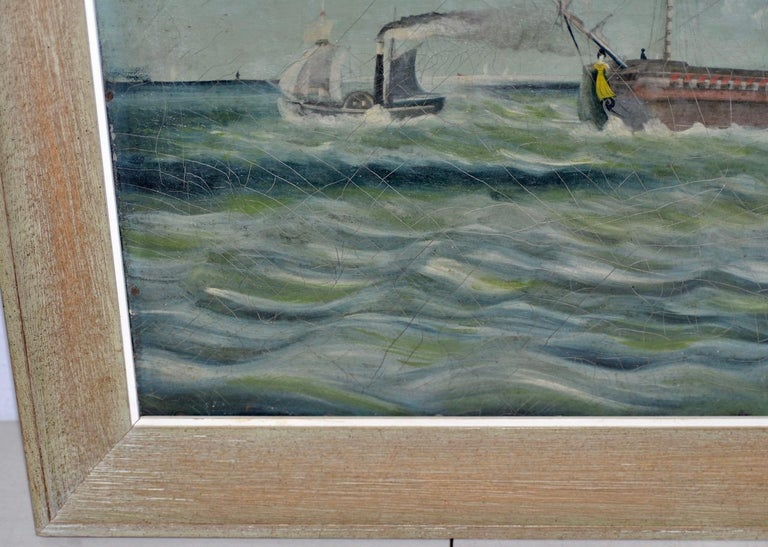 Early 20th Century American Maritime Oil Painting For Sale 3